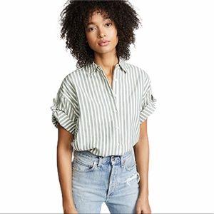 THE GREAT. - tie sleeve stripe big shirt top